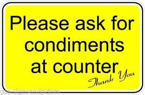100x65 MM Please pregunte para condimentos de contador cafetería van de burger
