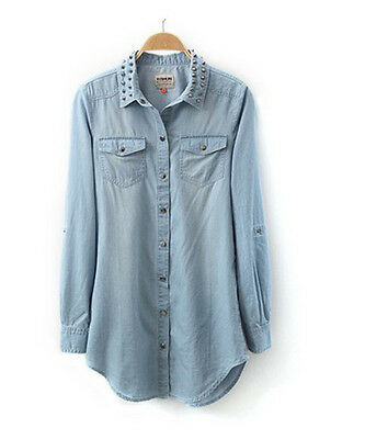 HOT! Womens lady girl Retro long sleeve blue jean denim shirt tops blouse Rivet