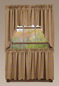Millsboro Window Tier Set Primitive Rustic Tan Navy Blue