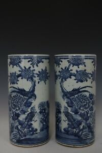 Fine-Beautiful-Chinese-Pair-Blue-and-White-Porcelain-Flower-and-Bird-Vases