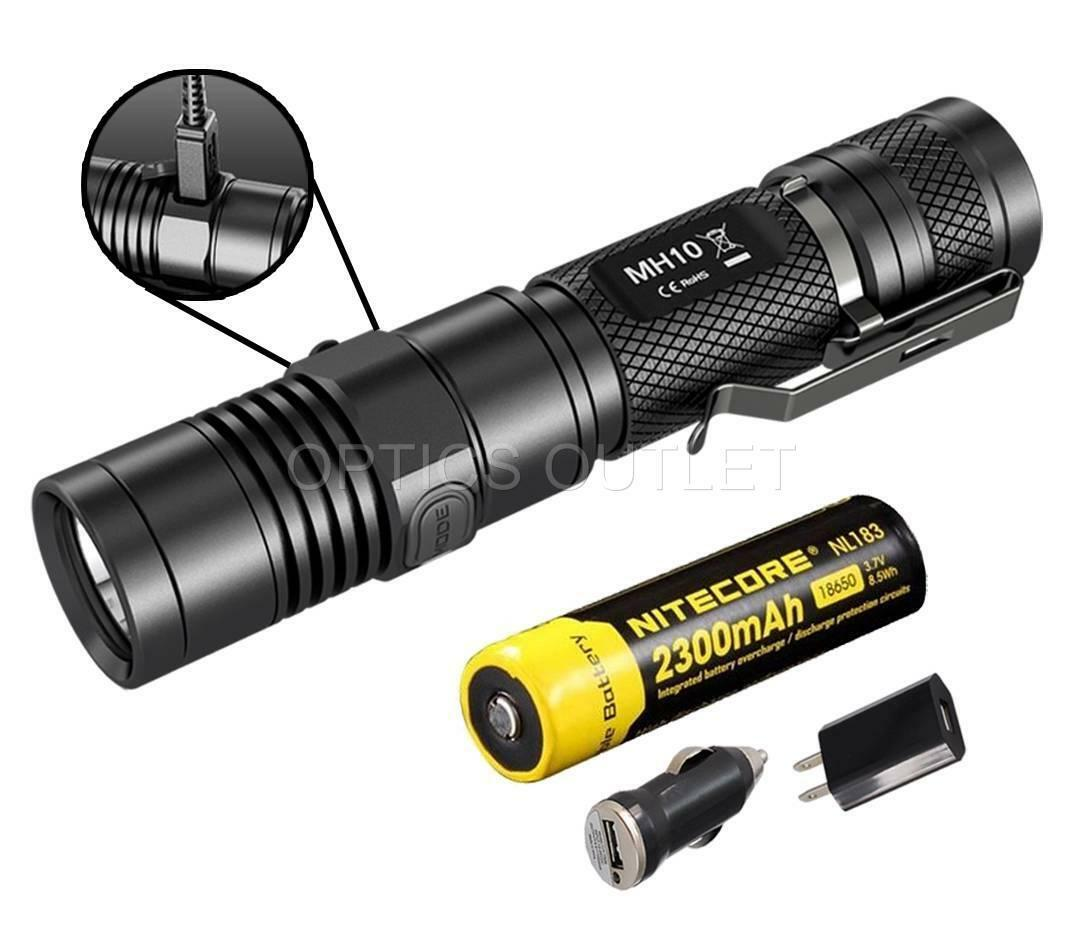 Nitecore MH10 1000 Lumens AC DC USB Rechargeable LED Flashlight w  Battery