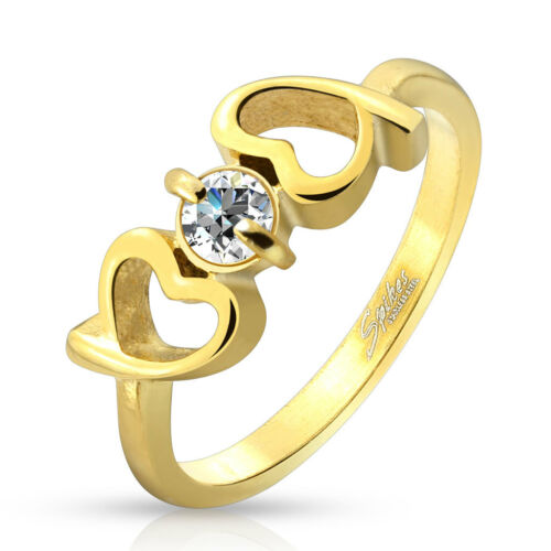 WOMAN RING GOLD PLATED DUO 2 HEARTS WITH ZIRCONIUM GLAMOUR VALENTINE'S DAY 3998