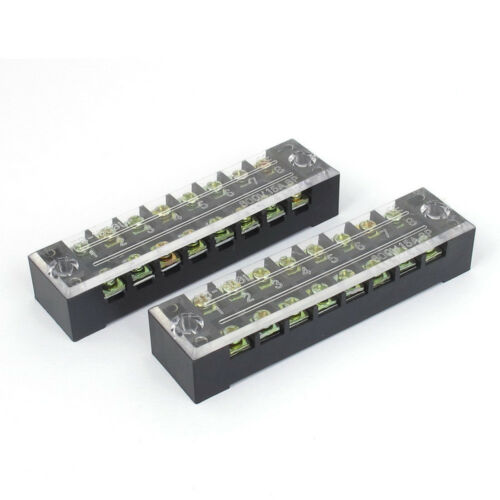 3PCS 600V 15A 2 Row 8 Positions 8P Covered Screw Terminal Barrier Strip Block Ic