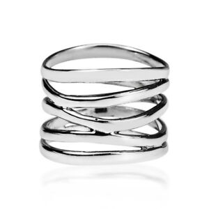 Punk-Wide-Five-Band-Coil-Wrap-925-Silver-Ring-Wedding-Engagement-Jewelry-Gifts