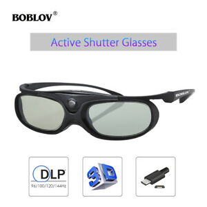 3D-Active-Shutter-Glasses-DLP-Link-96-144Hz-Wireless-Black-Fit-Optoma-BenQ