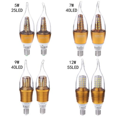 Hot E14 LED Candle Bulb Light 5//7//9//12W Aluminum 220V Vintage Retro LED Lamp