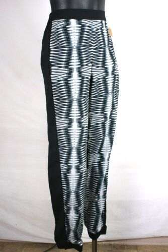 Kensie NEW Black White Abstract Print Sheer Polyester Pants Misses Size Medium