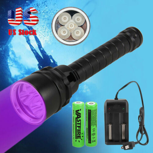Scuba Diving Underwater UV 395nm 5X XPE LEDs Flashlight w//   Battery Charger