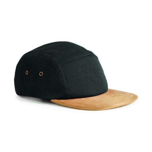 c8f1d03a40c Beechfield Mens Suede Peak 5 Panel Cap Casual Two Tone Headwear Hat One  Size Black