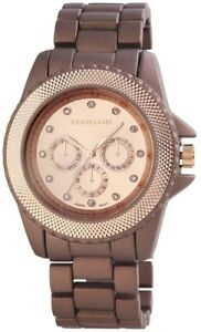Excellanc-Damenuhr-Rosegold-Braun-Chrono-Look-Analog-Metall-Quarz-X150955500011