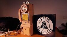 Vintage Western Electric 233g  pay phone W/ Authentic Bell Porcelain Sign