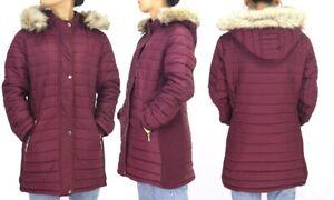 new w/tags lee hanton women's hooded sherpa lined puffer