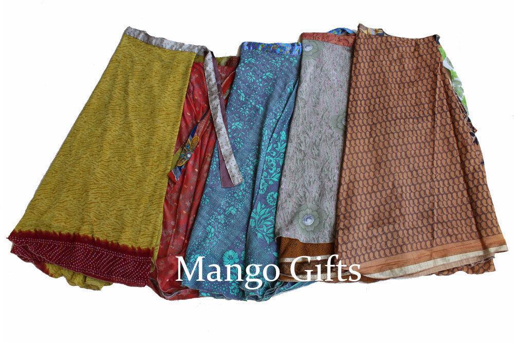 Indian Silk Sari Recycled Magic Wrap Around Skirts Reversible Dress Lot 5 Pcs