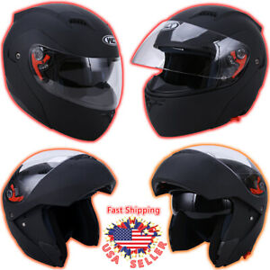 DOT Flip up Modular Full Face Motorcycle Helmet Dual Visor Sport Bike Matt Black