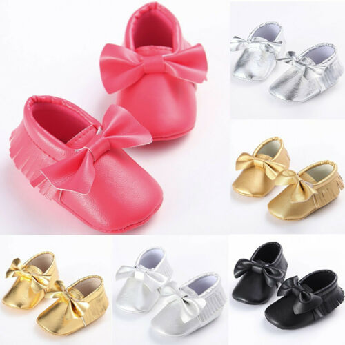 Toddler Kids Baby Girls Cute Toddler First Walk Winter Bow Knot Fringe Shoes