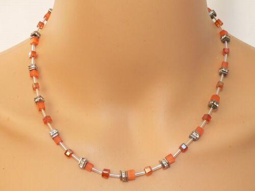Collar cadena collar 4 mm cubo gato ojo coral corall cristal rhinestone 502 l