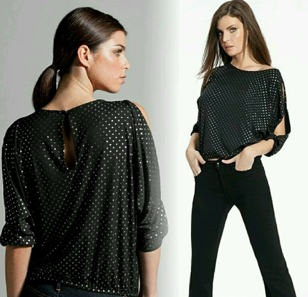 NWT Guess by Marciano Nicolina Metallic embossed stud Top Größe S