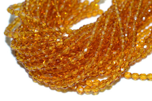 """Golden TOPAZ 2 TWO 16/"""" Strand 8mm Czech Fire Polished Crystals"""