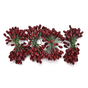 100XArtificial-Red-Holly-Berry-On-Wire-Bundle-Garland-Wreath-Making-Christmas-HC