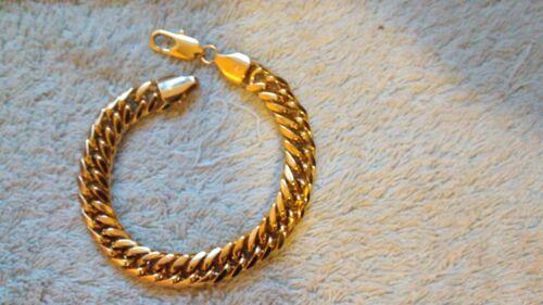"""regalo de cumpleaños Polímero protegido 9/"""" 10mm SG1008 18K Brazalete chapado en oro"""
