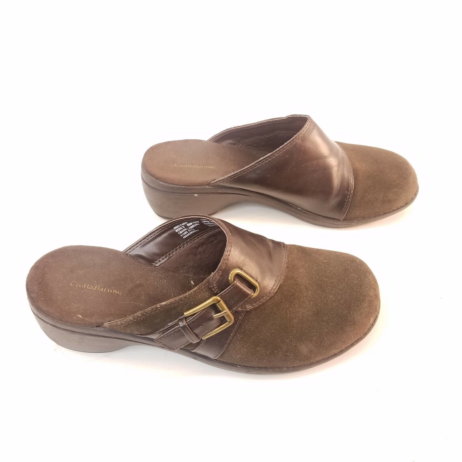 Croft Barrow Brown Suede Clogs Shoes Backless Slip On Mules Womens Size 8