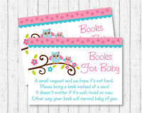 Pink Woodland Owl Printable Baby Shower Book Request Cards
