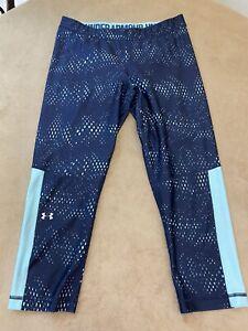 Under-Armour-Heat-Gear-Womans-Size-Large-Capri-Athletic-Pants-Logo