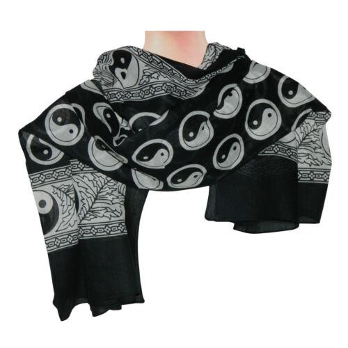 Foulard yin yang noir coton 100 x 100 cm imprimé foulard franco de port