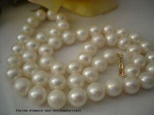 Kette-aus-Echten-Perlen-Weiss-Rund-45cm-14Kt-585er-Gelbgold-TOP-Geschenk