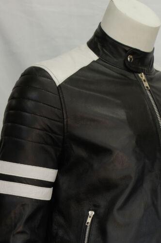 Ian Homme Style Motard Moto FIGHT CLUB en cuir véritable Veste Blanc Avec Bande