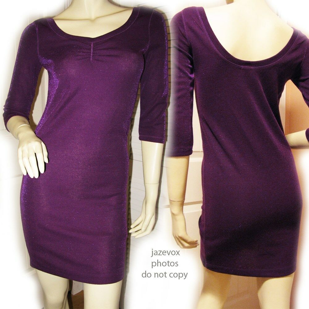 FOREVER 21 NEW Womens Sparkle Glitter Bodycon Sheath Dress M 3 4 Sleeve Purple