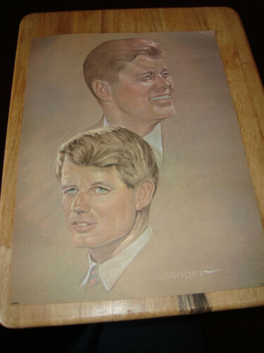 "10 of 1968 SANGER art poster 12"" x 16"" JOHN F KENNEDY Robert original MEMORIAL"