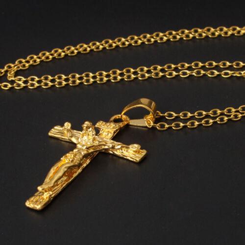Herren Kette Christlich Schmuck Geschenke Vintage Kreuz Jesus Anhänger HalsHitz#