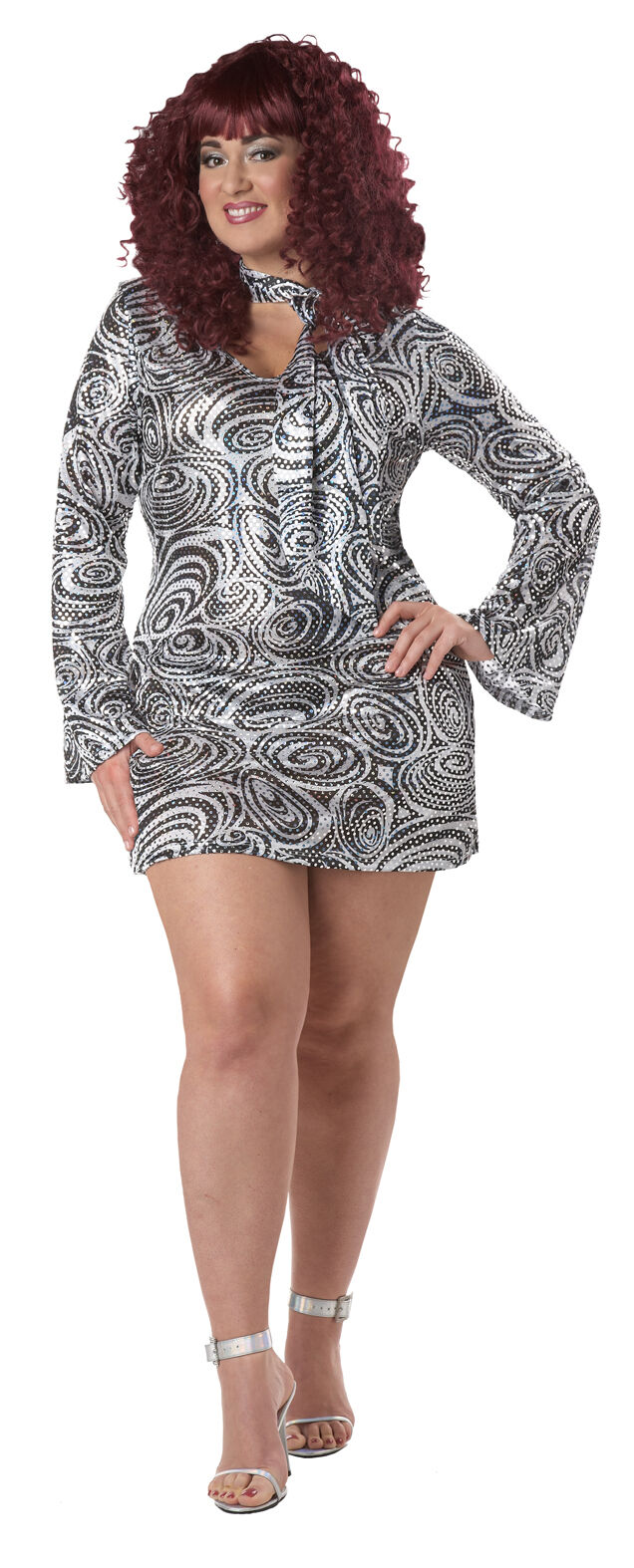 Details about Disco Diva Discolicious Women Plus Size Adult Halloween  Costume