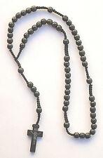 Franciscan Style Big Beads Black Cord / Wood Pectoral ROSARY