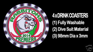 4-x-RABBITOHS-2014-PREMIERS-FOOTBALL-RUGBY-LEAGUE-DRINK-COASTERS-Fully-Washable