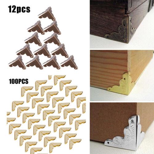 12X//100X Table Desk Wooden Box Gift Case Corner Protectors Iron Edge Cover Guard