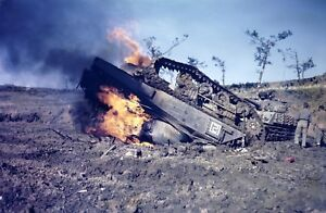 WWII-photo-American-tank-M4-034-Sherman-034-blown-up-on-a-Japanese-min-Okinawa-war10o