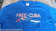 FREE CUBA BLUE Graphic Tee T-Shirt Adult Size L NEW IN PKG