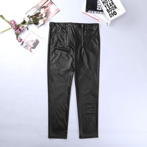 Men/'s WETLOOK Faux Leather Tight Pants Stretchy Legging Zipper Trousers Clubwear