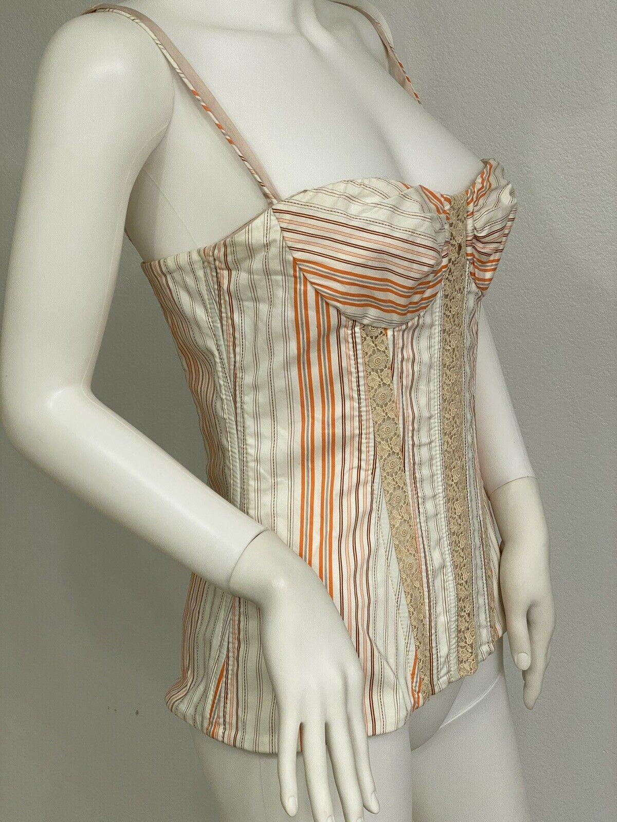 Vintage Dolce Gabbana Cotton, Lace Corset Top Bus… - image 6