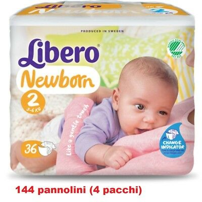 Nouveau Born High Quality And Low Overhead 3-6 Kg 4 Paquets De 36pz Taglia 2 Dedicated 144 Couches Libero Nouveau-né