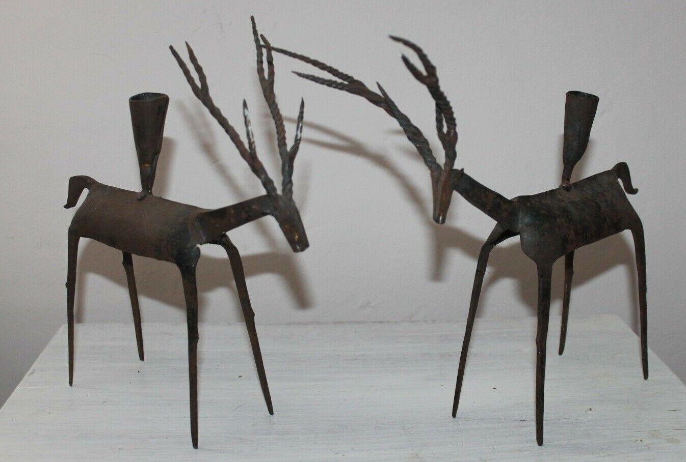 Deer Metal Candleholders Twisted Antlers Primitive Farmhouse Country Rustic Folk