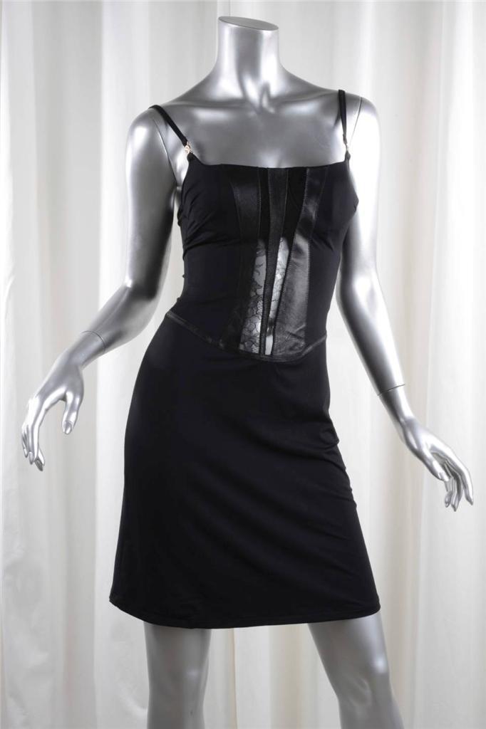 Versace Jeans Couture Damen Schwarz Strick + Leder Spitze Ärmellos Bodycon Kleid