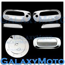 97-04 Dodge Dakota Triple Chrome 2 Door Handle W/ PSG Keyhole+Tailgate+Gas cover