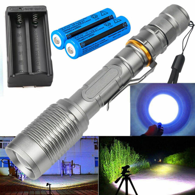 Zoomable 90000LM T6 LED Rechargeable High Power Torch Flashlight Hiking Lamp