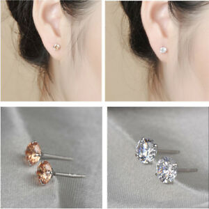 2c6b836c7 Details about Unisex Women Men Silver Plated Cubic Bright Zirconia Round Stud  Earrings 3MM-8MM