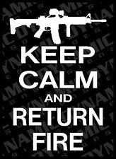 Large Keep Calm and Return Fire AR-15 vinyl window decal sticker NRA pro 2nd gun