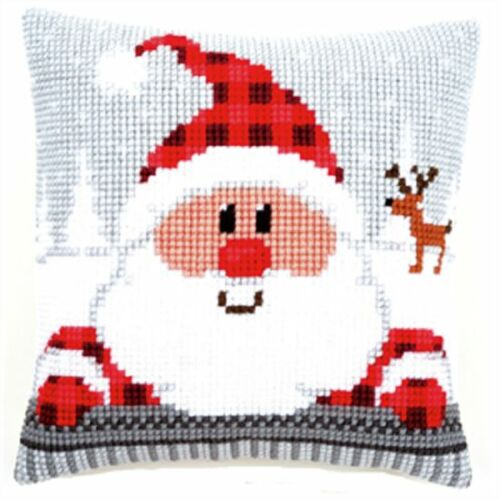 Santa in Plaid Hat Large Holed Printed Tapestry Canvas Cushion Kit Cross Stitch