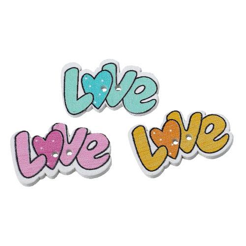 """artisanat scrapbook libre p/&p 10 en bois /""""love/"""" à coudre boutons 28 x 17mm"""